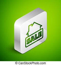 Isometric line Hanging sign with text Sale icon isolated on green background. Signboard with text Sale. Silver square button. Vector