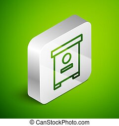 Isometric line Hive for bees icon isolated on green background. Beehive symbol. Apiary and beekeeping. Sweet natural food. Silver square button. Vector