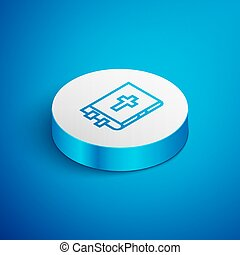 Isometric line Holy bible book icon isolated on blue background. White circle button. Vector Illustration
