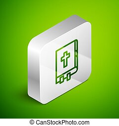 Isometric line Holy bible book icon isolated on green background. Silver square button. Vector Illustration