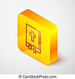 Isometric line Holy bible book icon isolated on grey background. Yellow square button. Vector Illustration