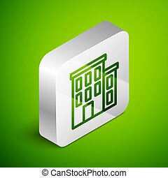 Isometric line House icon isolated on green background. Home symbol. Silver square button. Vector