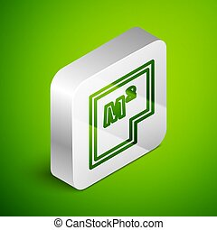 Isometric line House plan icon isolated on green background. Silver square button. Vector