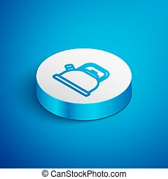 Isometric line Kettle with handle icon isolated on blue background. Teapot icon. White circle button. Vector