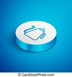 Isometric line Kettle with handle icon isolated on blue background. Teapot icon. White circle button. Vector Illustration