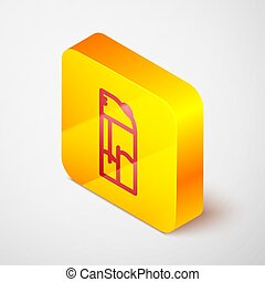 Isometric line Lighter icon isolated on grey background. Yellow square button. Vector