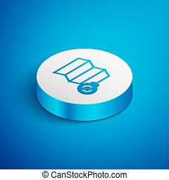 Isometric line Location of the forest on a map icon isolated on blue background. White circle button. Vector Illustration