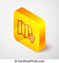 Isometric line Location of the forest on a map icon isolated on grey background. Yellow square button. Vector Illustration