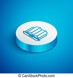 Isometric line Location of the forest on a map in laptop icon isolated on blue background. White circle button. Vector Illustration