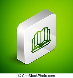 Isometric line Location of the forest on a map in laptop icon isolated on green background. Silver square button. Vector Illustration