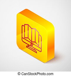 Isometric line Location of the forest on a map in monitor icon isolated on grey background. Yellow square button. Vector Illustration