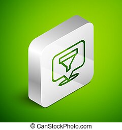 Isometric line Location with sales funnel icon isolated on green background. Infographic template. Silver square button. Vector Illustration