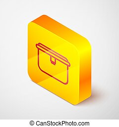 Isometric line Lunch box icon isolated on grey background. Yellow square button. Vector Illustration