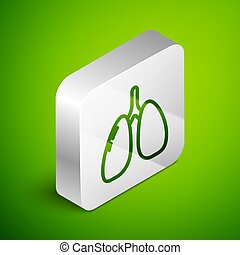 Isometric line Lungs icon isolated on green background. Silver square button. Vector