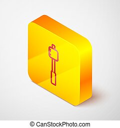 Isometric line Marshmallow on stick icon isolated on grey background. Yellow square button. Vector Illustration