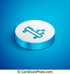 Isometric line Massage table with oil icon isolated on blue background. White circle button. Vector