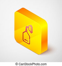 Isometric line Medical oxygen mask icon isolated on grey background. Yellow square button. Vector Illustration