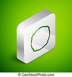 Isometric line Moon icon isolated on green background. Silver square button. Vector Illustration