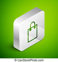Isometric line Paper shopping bag icon isolated on green background. Package sign. Silver square button. Vector Illustration