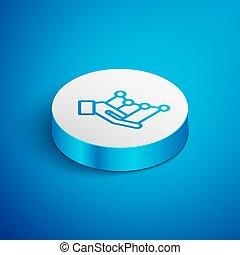 Isometric line Pie chart infographic icon isolated on blue background. Diagram chart sign. White circle button. Vector Illustration