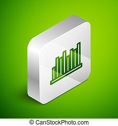 Isometric line Pie chart infographic icon isolated on green background. Diagram chart sign. Silver square button. Vector Illustration