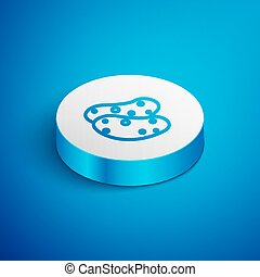 Isometric line Potato icon isolated on blue background. White circle button. Vector