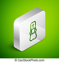 Isometric line Priest icon isolated on green background. Silver square button. Vector Illustration