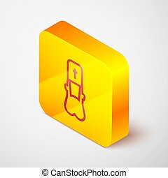 Isometric line Priest icon isolated on grey background. Yellow square button. Vector Illustration