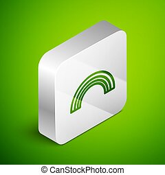 Isometric line Rainbow icon isolated on green background. Silver square button. Vector Illustration