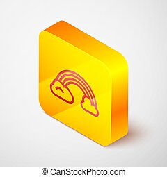 Isometric line Rainbow with clouds icon isolated on grey background. Yellow square button. Vector Illustration