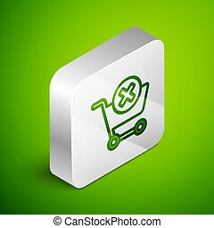 Isometric line Remove shopping cart icon isolated on green background. Online buying concept. Delivery service. Supermarket basket and X mark. Silver square button. Vector Illustration