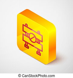 Isometric line Road barrier icon isolated on grey background. Symbol of restricted area which are in under construction processes. Repair works. Yellow square button. Vector