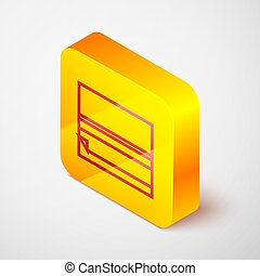 Isometric line Rolling paper icon isolated on grey background. Yellow square button. Vector Illustration