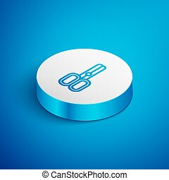 Isometric line Scissors hairdresser icon isolated on blue background. Hairdresser, fashion salon and barber sign. Barbershop symbol. White circle button. Vector Illustration