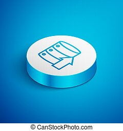 Isometric line Server, Data, Web Hosting icon isolated on blue background. White circle button. Vector Illustration