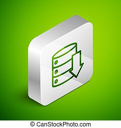 Isometric line Server, Data, Web Hosting icon isolated on green background. Silver square button. Vector Illustration