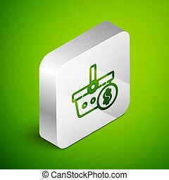 Isometric line Shopping basket and dollar symbol icon isolated on green background. Online buying concept. Delivery service. Shopping cart. Silver square button. Vector Illustration