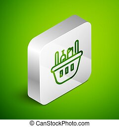 Isometric line Shopping basket and food icon isolated on green background. Food store, supermarket. Silver square button. Vector Illustration
