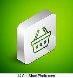 Isometric line Shopping basket icon isolated on green background. Online buying concept. Delivery service sign. Shopping cart symbol. Silver square button. Vector Illustration