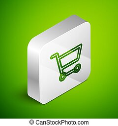 Isometric line Shopping cart icon isolated on green background. Online buying concept. Delivery service sign. Supermarket basket symbol. Silver square button. Vector Illustration