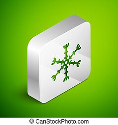 Isometric line Snowflake icon isolated on green background. Silver square button. Vector Illustration