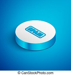 Isometric line Spam icon isolated on blue background. White circle button. Vector
