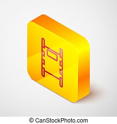 Isometric line Stretcher icon isolated on grey background. Patient hospital medical stretcher. Yellow square button. Vector Illustration