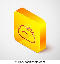 Isometric line Sun and cloud weather icon isolated on grey background. Yellow square button. Vector Illustration