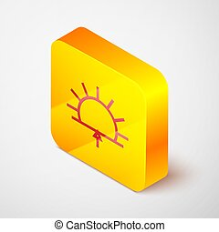 Isometric line Sunrise icon isolated on grey background. Yellow square button. Vector Illustration