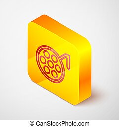 Isometric line Surgery lamp icon isolated on grey background. Yellow square button. Vector Illustration