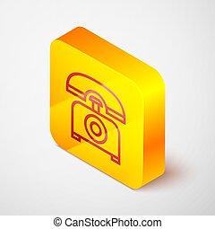 Isometric line Telephone icon isolated on grey background. Landline phone. Yellow square button. Vector Illustration