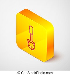 Isometric line Toilet brush icon isolated on grey background. Yellow square button. Vector Illustration
