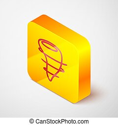 Isometric line Tornado icon isolated on grey background. Yellow square button. Vector Illustration