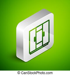 Isometric line Wardrobe icon isolated on green background. Silver square button. Vector